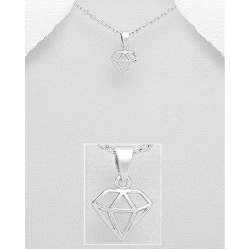 Diamant hanger zilver