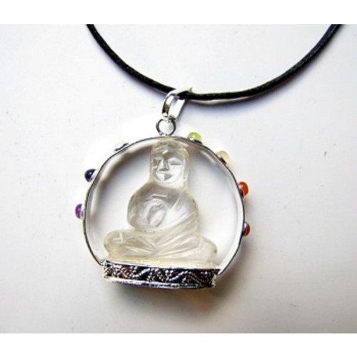 Boeddha hanger bergkristal met chakra steentjes