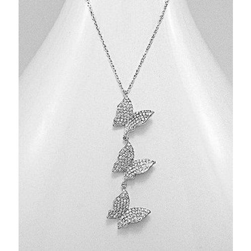 Halsketting zilver met 3 vlindertjes