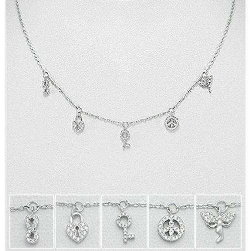 Halsketting Higher self zilver met 5 symbolen