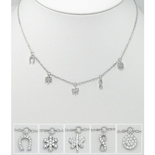 Halsketting Freedom zilver met 5 symbolen