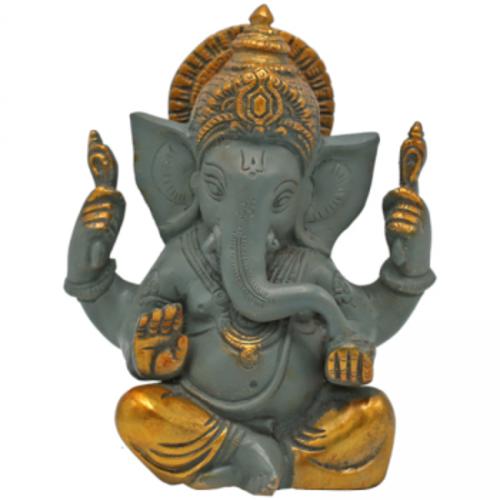 Ganesha beeld grijs messing met gouden finish
