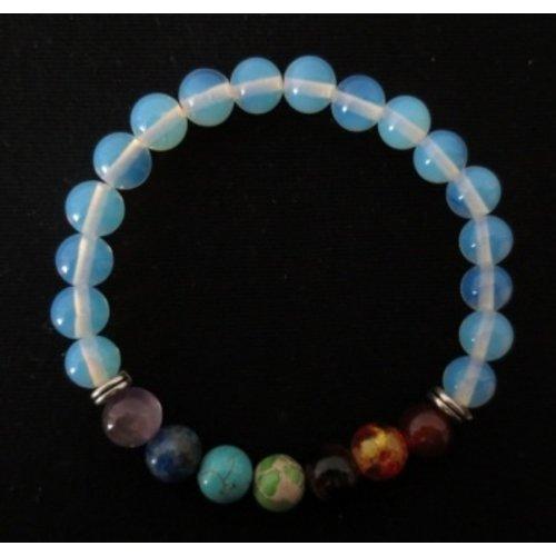Armband opaliet met 7 chakra stenen