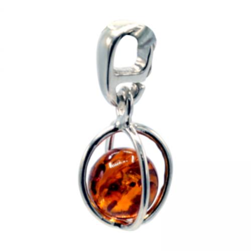Hanger sterling zilver met amber kogel — 1.5 cm