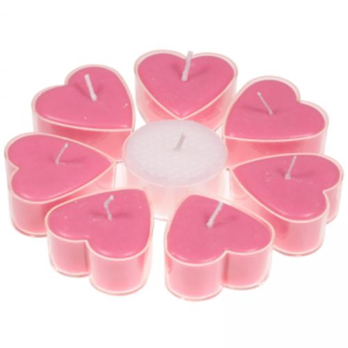 Fair Trade Hartvormige geurkaarsjes stearine kersenbloesem