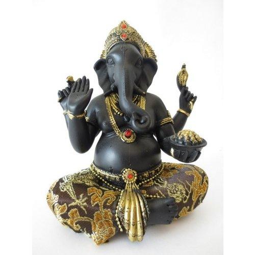 Ganesh groot goud/zwart gekleurd