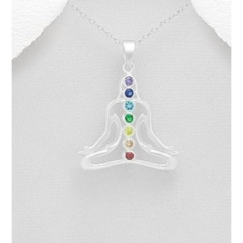 Boeddha chakra hanger van zilver