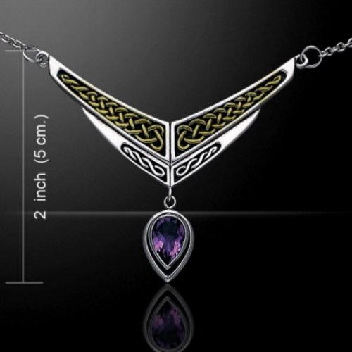 Celtic hanger zilver-goud met amethyst