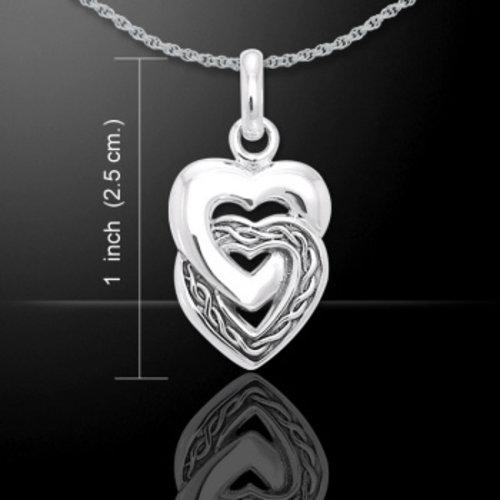 Dubbel hart hanger zilver