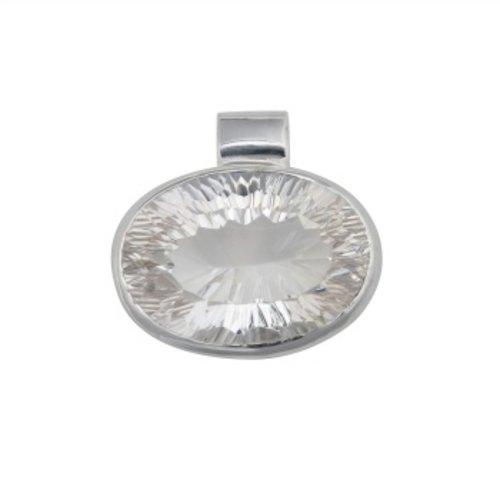 Elegante hanger zilver met gefacetteerd bergkristal