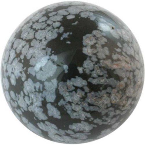 Edelsteen bol sneeuwvlok Obsidiaan 4 cm