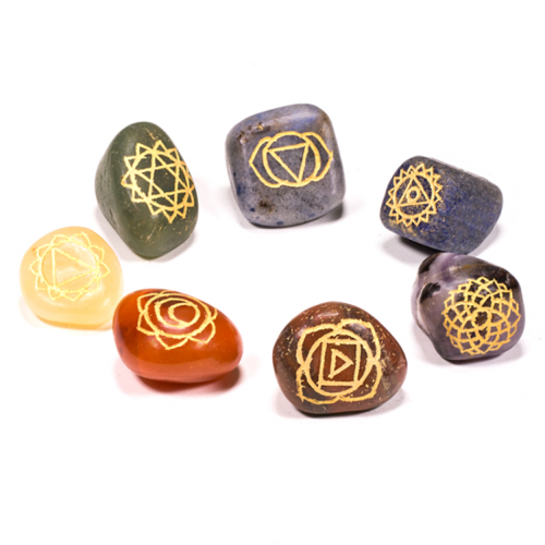 7 chakra symbolen trommelstenen