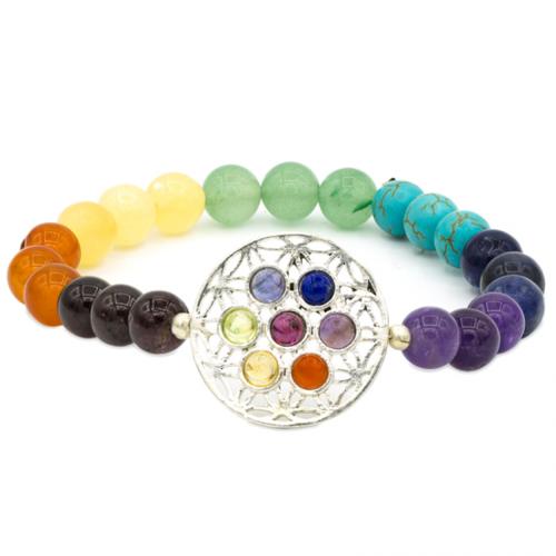 Armband 7 chakra's met bloem des levens symbool elastisch