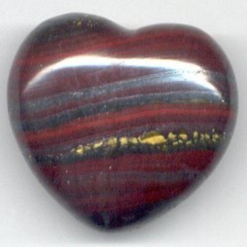 Edelsteen hart tijgerijzer 4 cm gebold