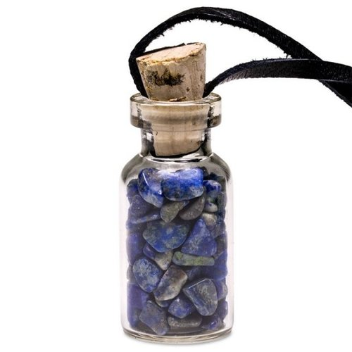 Flesje lapis lazulli steentjes aan koord