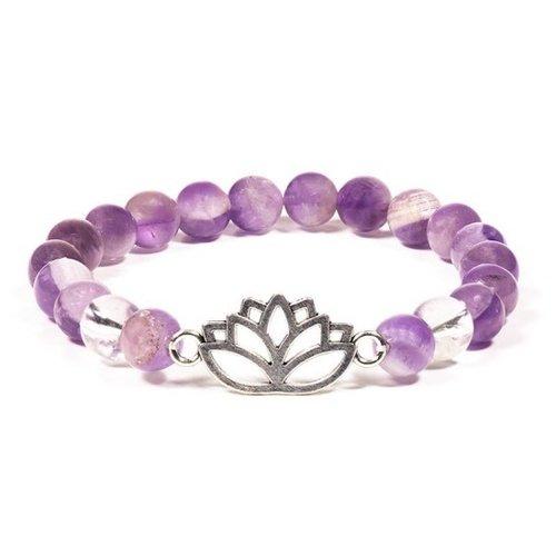 Armband amethist bergkristal met lotus