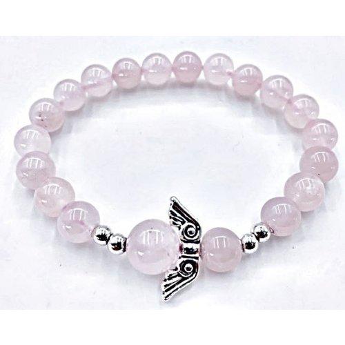 Armband rozenkwarts met engel