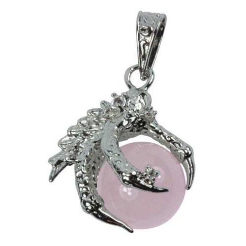 Hanger drakenklauw met Rozekwarts bol
