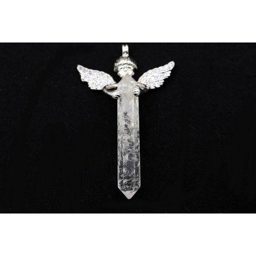 Engel met dubbeleinder bergkristal