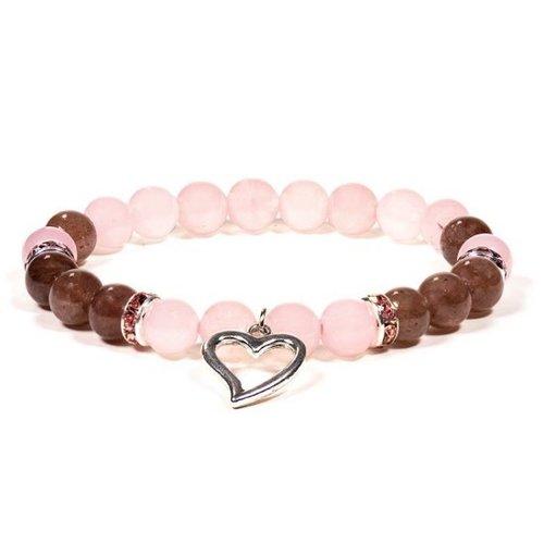 Armband rozenkwarts aardbeienkwarts met hartje