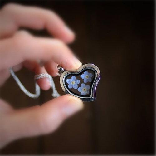 Halsketting medaillon hart met vergeet me nietje