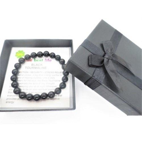 Armband 8 mm zwarte toermalijn met cadeau doosje