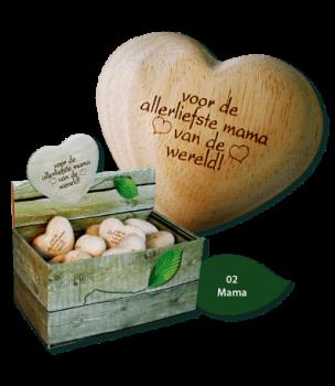 Hartjes hout met tekst