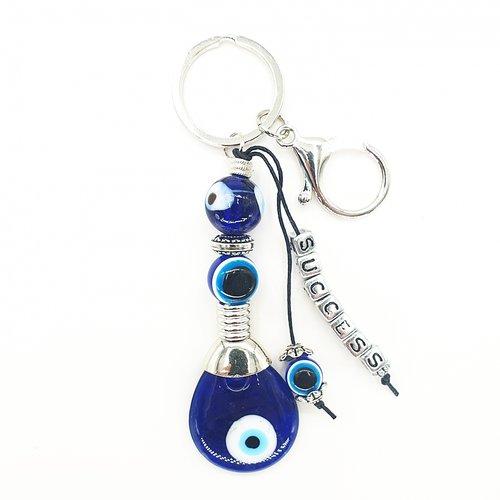 Blauwe boze oog sleutelhanger Success