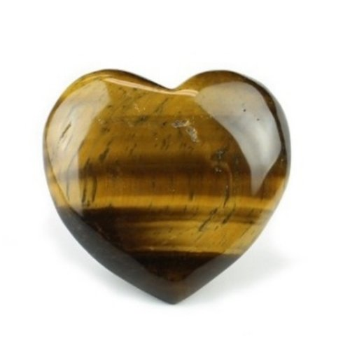 Edelsteen hart tijgeroog 4 cm gebold