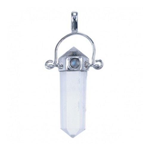 Zilver hanger bergkristal met maansteen