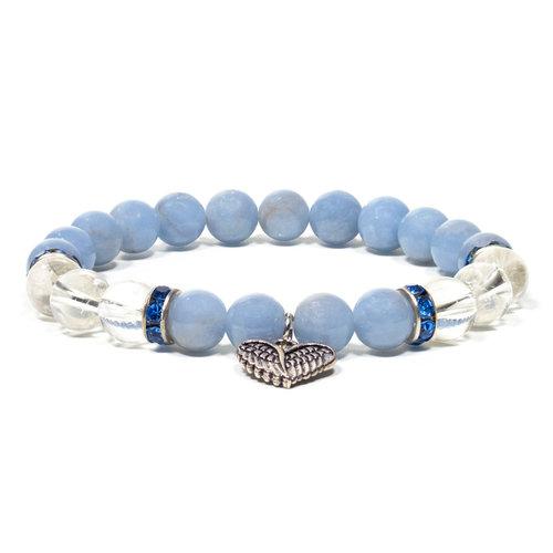 Angeliet/bergkristal armband elastisch