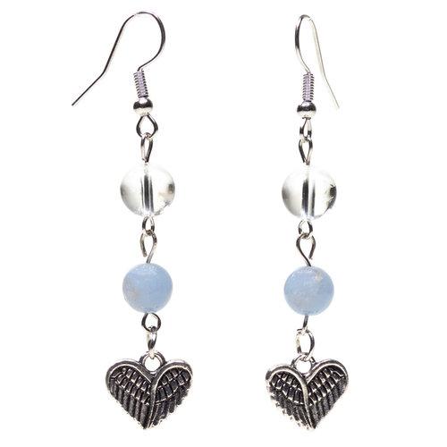 Angeliet/bergkristal oorbellen met hart