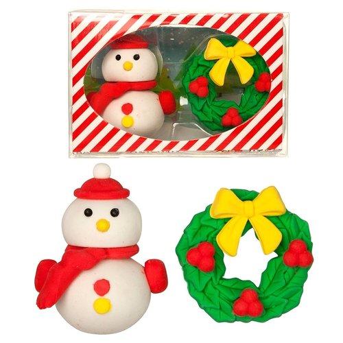 Gum set sneeuwpop met kerstkrans