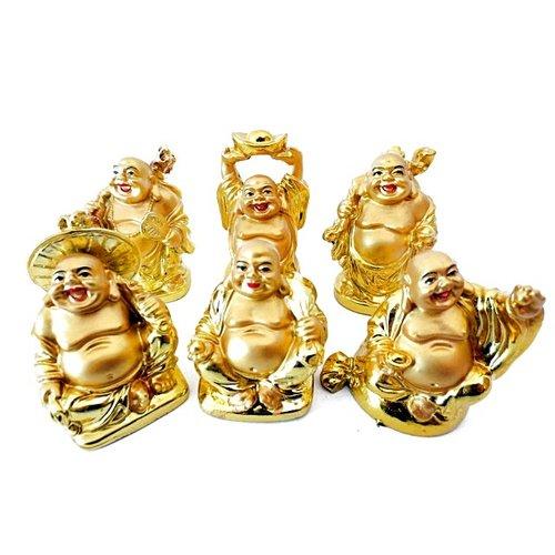 Boeddha setje van 6 goudkleurige boeddha's