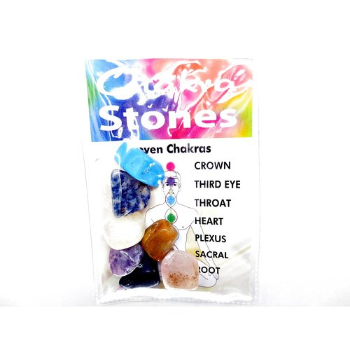 Display met 24 sets chakra stenen