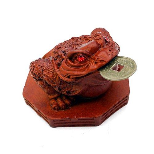 Feng Shui kikker bruin met een geluksmuntje