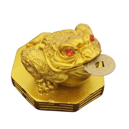 Feng shui kikker goud met geluksmuntje