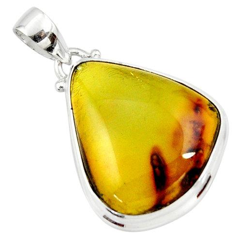 Zilveren hanger barnsteen amber