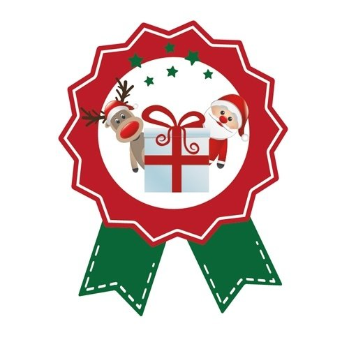 Cadeausticker Kerstman & Ree 10 stuks