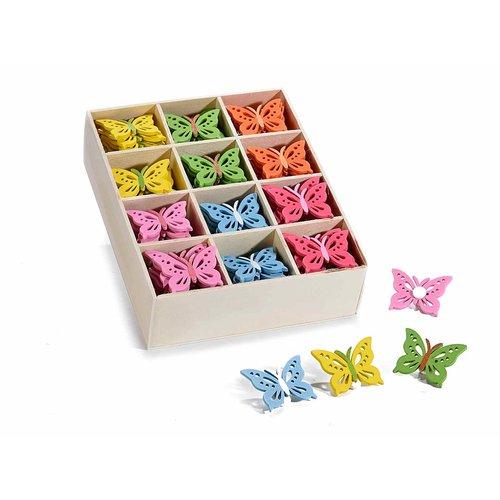 Gekleurde houten vlinders 12 stuks