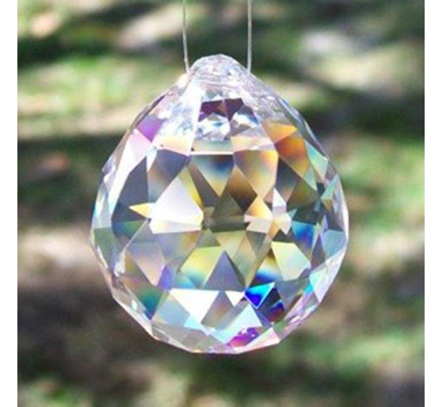 Regenboogkristal Bol transparant  6 cm