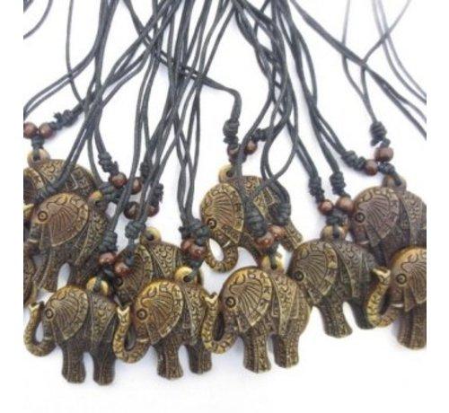 Ketting geluk olifant bruin