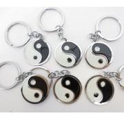 Yin yang sleutelhanger metaal