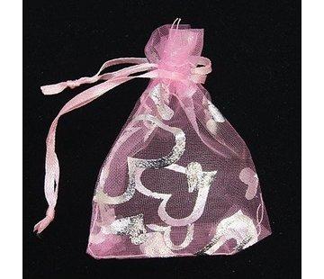 Organza zakje hart roze 7,5 x 10 cm
