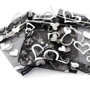 Organza zakje hart zwart 7,5 x 10 cm