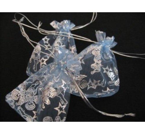 Organza zakje engelen blauw 7 x 10 cm