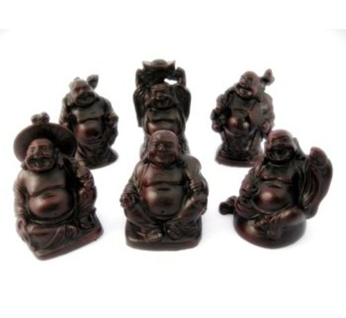 Boeddha setje rood inhoud 6 stuks groot