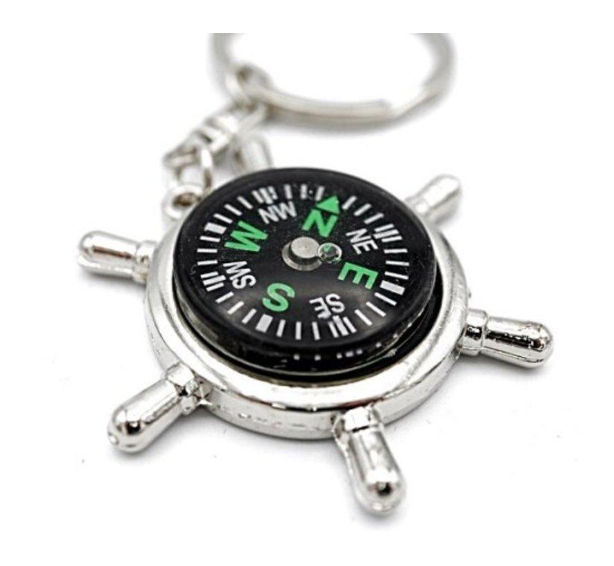 Sleutelhanger kompas stuurwiel