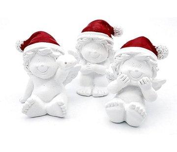 Engel met kerstmuts in organza zakje