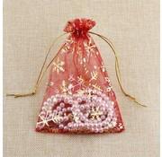 organza zakje rood sneeuwvlok 10 x 14 cm